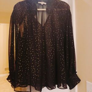 LOFT polka dot chiffon sheer long sleeve top shirt